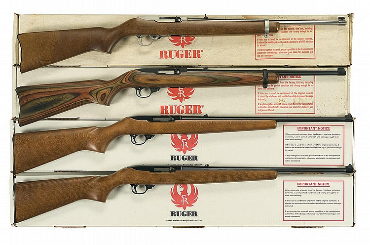 Four Ruger Model 10 22 Rifles And Carbines A Stainless Rug