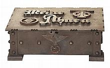 Historic World War II Era Iron Chest with Schutzstaffel/Germanic Pagan Designs Attributed as being Produced for SS Chief Heinrich Himmler at the Dachau Concentration Camp