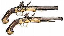 Pair of Unique Brass Framed Flintlock Pistols with Golden Embellished Chiseled Barrels and Wire Inlaid Stocks -A) Unknown Pistol