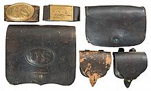 Collector's Lot of Six Civil War Leather Accessories