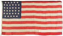 Historic Civil War Era Thirty-Four Star American Flag Attributed to the Ironclad U.S.S. Pittsburgh