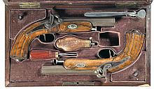 Cased Pair of French Percussion Pistols with Accessories -A) Unknown Back Action Percussion Pistol