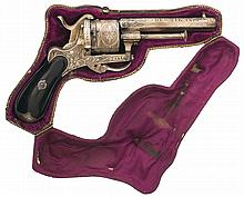 Engraved and Silver Plated Belgian Double Action Pinfire Revolver with Case Given as a Shooting Prize in 1871