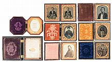 Seven Cased Vintage Portraits and Two Empty Gutta-Percha Tintype Cases