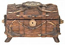 Historic Stag Horn Accented Hardwood Tobacco Chest, Marked as a Gift from Nazi Labor Chief Robert Ley to SS Chief Heinrich Himmler
