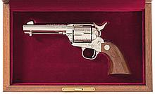 Factory Cased and Master Engraved Colt Prototype European Model Limited Edition Single Action Army Revolver with Factory Boxes and Letter