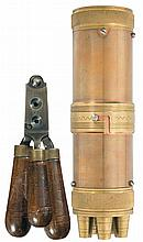 Reproduction Paterson Style Rifle Bullet Mold and Combination Powder Flask and Ball Container