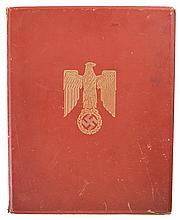 Rare and Historic Nazi Award Document for the Knight's Cross of the Iron Cross Awarded to Panzer Feldwebel Friedrich Banach for Action on the Eastern Front with Gold Embossed Leather Folio Signed by Hitler