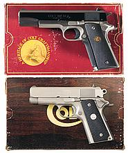 Two Colt Mark IV Series 80 Semi-Automatic Pistols with Original Boxes -A) Colt Combat Elite Two-Tone Pistol with Box