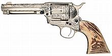 Engraved Antique First Generation Colt Single Action Army Revolver with Stag Grips