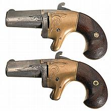 Pair of National Arms Co. Derringers with Brass Frames and Scarce Short Barrels -A) National Arms Co. Second Model Derringer