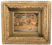 Unsigned Oil on Wood Medium Sized Painting with Ornate Gilded Frame