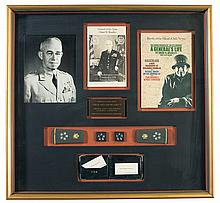 Historic Shadow Box Display of World War II Commander and Five Star General Omar N. Bradley with Letter of Provenance from Ret. Major General John E. Bianchi