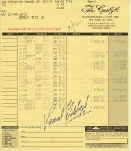 Samuel Goldwyn Jr. 1987 Personally Signed Carlyle Hotel Folio