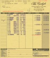 Paul Reubens 'Pee Wee Herman' 1986 Personally Signed Carlye Hotel Folio