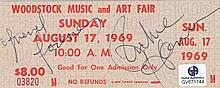 Richie Havens Autographed Original '69 Woodstock Ticket