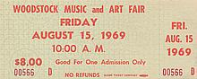 Woodstock Original $8.00 Ticket Friday August 15, 1969