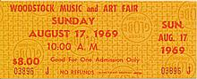 Woodstock Original $8.00 Ticket Sunday August 17, 1969