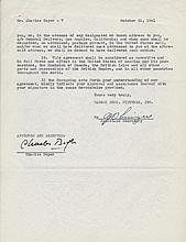 Charles Boyer Signed 1941 Warner Bros Film Contract