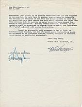 Kirt Douglas Signed 1950 Warner Bros Contract