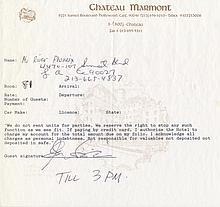 River Phoenix Signed Chateau Marmont Hotel Registration