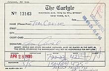 Tom Cruise Signed Carlyle Hotel Registration Hotel Card