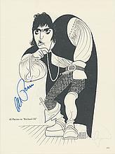 Al Pacino Autographed Al Hirschfeld Book Page
