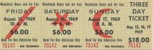 Woodstock Festival 1969 Original $18.00 Three Day Ticket
