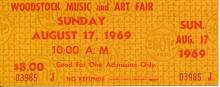 Woodstock Festival 1969 Original $8.00 Ticket Sunday August 17, 1969