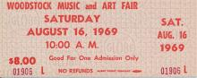 Woodstock Festival 1969 Original $8.00 Ticket Saturday August 16, 1969