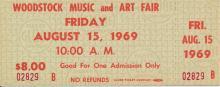 Woodstock Festival 1969 Original $8.00 Ticket Friday August 15, 1969