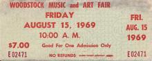 Woodstock Festival 1969 Original $7.00 Ticket Friday August 15, 1969