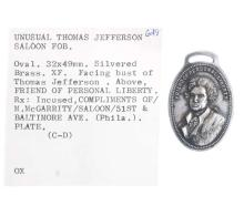 Thomas Jefferson McGarrity Saloon Fob, n.d.