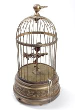 Brass Automated Bird in Cage