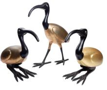 Pair of Lacquer Egret Sculptures w. Another