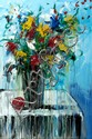 Angelina Raspel (20th Century) - VASE OF FLOWERS,