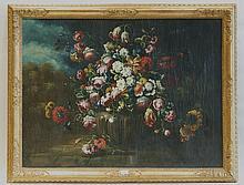 école ITALIENNE (dans le goût du XVIIIesiècle)   Bouquet de fleurs dans un paysage   Huile sur toile (rentoilage; quelques restaurations).   Haut.: 75 - Larg.: 99cm.
