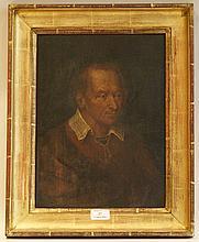 école FLAMANDE - Seconde moitié du XVIIIesiècle   Portrait d'homme en veste rouge et chemise à col blanc   Huile sur panneau.   Deux planches verticales (petites restaurations).   Haut.: 37 - Larg.: 27,2cm.
