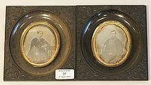 COEULTE Dominique-Achille (1804-?). Paire de daguérrotypes portraits homme&femme. 17x15cm. Dominique Achille Coeulte était daguerréotypiste à Nancy. Il colla¬bora avec Delahaye en 1852 et participa à