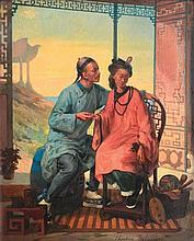 DELAMARRE Théodore (1824-1883)   La déclaration chinoise   Huile sur panneau, signé en bas à droite, titré au dos.   Haut.: 46 - Larg.: 37cm.