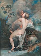 CORREGE, Antonio Allegri, dit Il Correggio ou Le (D'après) (1489-1534) Io et Jupiter Pastel (petites traces d'accident dans les marges). Haut.: 38 - Larg.: 29cm. Reprise du XIXesiècle de la composition