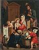 QUELLIN Erasmus II (Ecole de) (Anvers 1607-id. ; 1678) La Sainte famille se réchauffant près de l'âtre, avec deux anges s'apprêtant à coucher l'enfant Jésus dans un berceau en osier Huile sur cuivre. Annoté en bas à gauche: E.