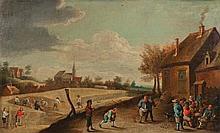 TENIERS David dit le jeune (Atelier de)   (Anvers 1610-Bruxelles 1690)   Paysans jouant aux quilles.   Huile sur toile.   (rentoilage ; petits manques ; quelques restaurations).   Haut.: 45 - Larg.: 74,5cm.