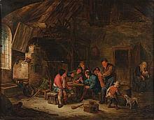 DUSART Cornelis (Attribué à) (Haarlem 1660-id. ; 1704) Fumeurs et violoniste dans un intérieur rustique Huile sur panneau. Chêne. Parquetage (trace de fente horizontale dans la partie supérieure). Haut.: 36,3 - Larg.: