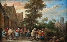 TENIERS David (école de) (1610-1690)   Fête de village avec un joueur de cornemuse   Huile sur cuivre, annotée en bas à droite: D. TENIERS. Fecit 1665.   Haut.: 13,5 - Larg.: 20,7cm.