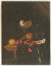 LOEDING Harmen (Leyde vers 1637-vers 1673) Nature morte au nautile, orange, cerises, citron, roemer et fraises des bois sur un entablement garni d'un tapis frangé Huile sur panneau Chêne. Une seule planche. (quelques restaurations;