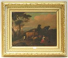 BERGEN Dirk van (Attribué à) (Haarlem 1645-1690)   Pâtres et leurs animaux au pâturage   Huile sur toile (rentoilage ; petits manques et soulèvements ;   restaurations et surpeints).   Haut.: 40,7 - Larg.: 54cm.