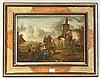 WOUWEMANS Philips (D'après) (1619?-?1668)   La halte des chasseurs   Huile sur toile (petits manques et restaurations dans la partie inférieure).   Haut.?: 33,5 - Larg.?: 47?cm.