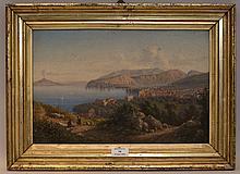 école ITALIENNE du XIXe?siècle   Vue de la baie de Naples avec le Vésuve fumant   Huile sur toile (petit manque en haut à droite).   Haut.?: 27 - Larg.?: 41?cm.
