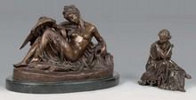d'après Albert CARRIER-BELLEUSE Léda et le cygne groupe en bronze à patine médaille (petits accidents) sur socle en marbre noir, n...
